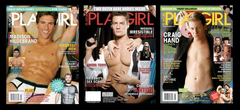 A smattering of Playgirl covers