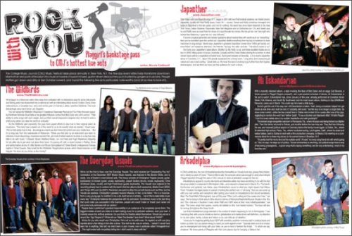 """""""Rock with You: CMJ Awards Coverage"""" - Magazine Spread"""