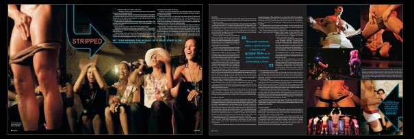 """""""Stripped: Behind the Scenes at a Stripclub""""- Magazine Spread"""