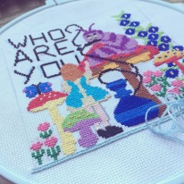 Found a vintage Alice in Wonderland cross stitch book and thought it was the perfect excuse to finally try my hand at it